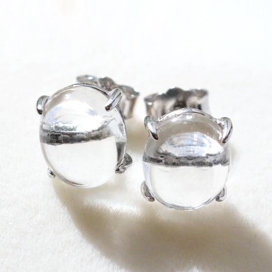 ガネーシュヒマール産ヒマラヤ水晶オーバル型シルバーピアス