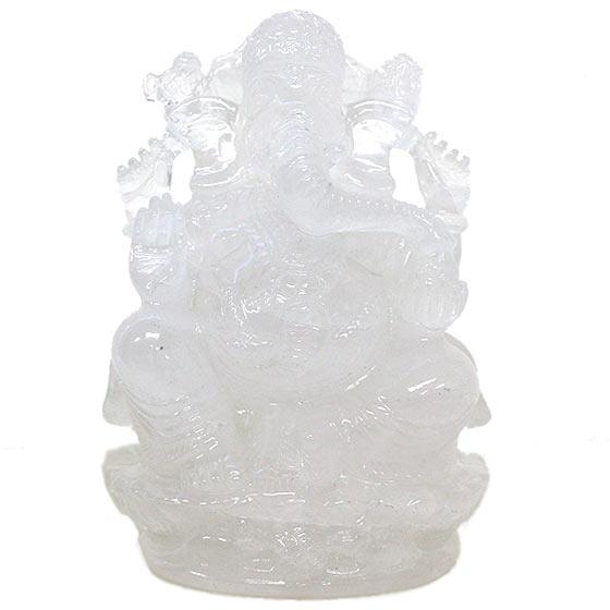 置物 パールバティ産ヒマラヤ水晶 ガネーシャ像 レインボー入り
