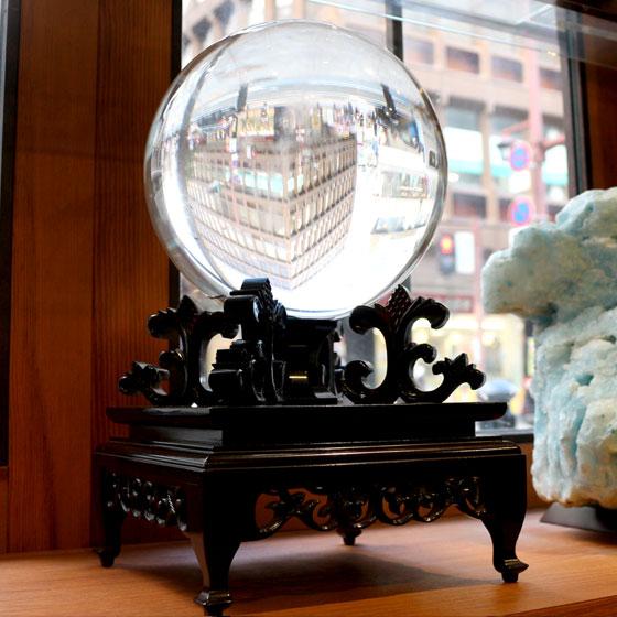 ブラジル産水晶球 188mm 鑑別書付き 台座付き