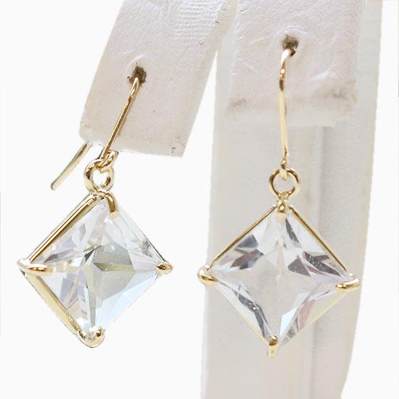 K18 アメリカ産 ハーキマーダイヤモンド スクエア型 フックピアス(天然石 パワーストーン アクセサリー レディース 18金 ハーキマー水晶)(tg200407her001k18piea) メール便不可