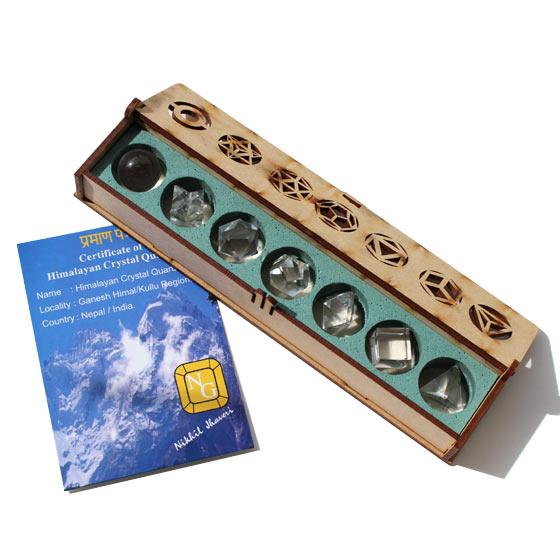 パールバティ産 ヒマラヤ水晶 幾何学プラトン立体セット 小 木箱・産地証明書付き