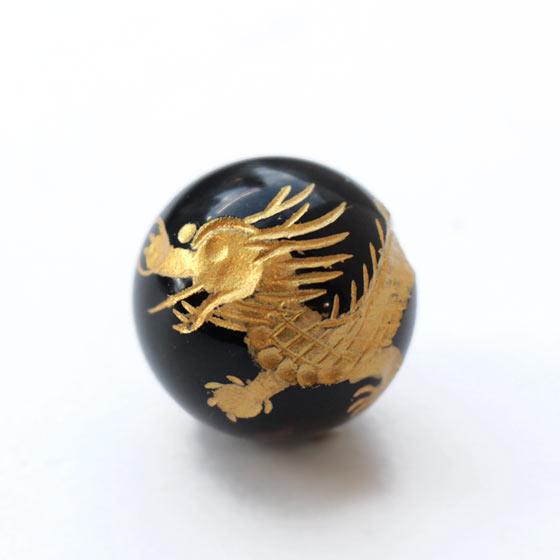 黒水晶 四神彫り 20mm球 丸玉 金色彫刻