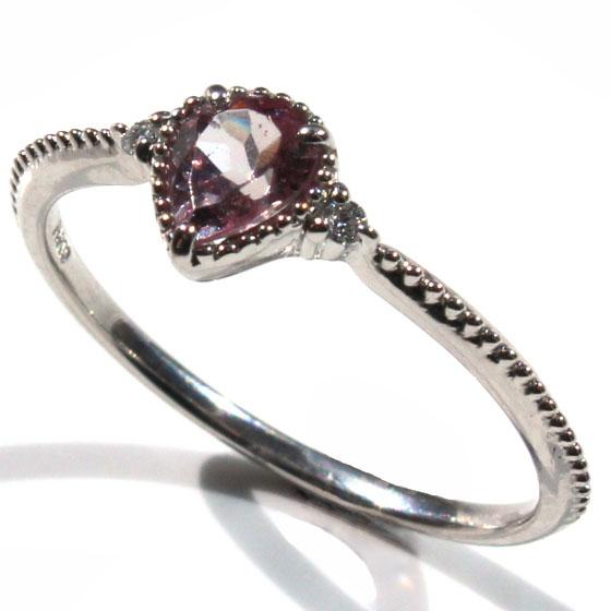 Pt900タンザニア産マラヤガーネット&ダイヤ リング指輪