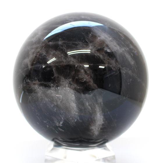 モンゴル産 黒水晶 約120mm球 丸玉 02 台座付き
