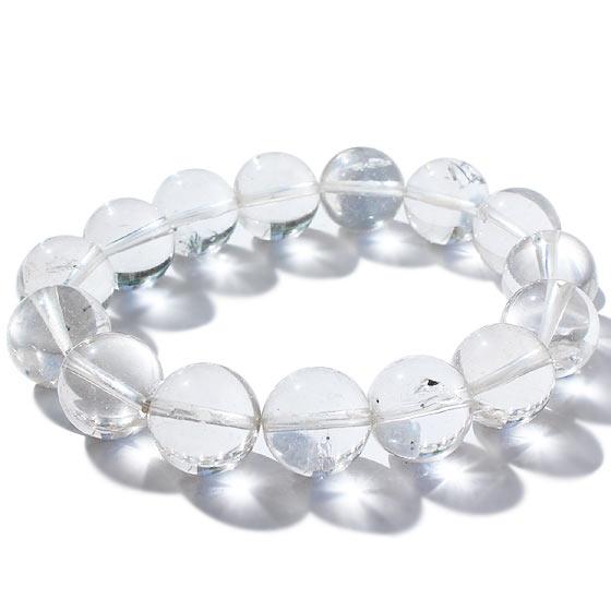 マダガスカル産 水入り水晶 約13.5mm球 一連ブレスレット 内径約16cm