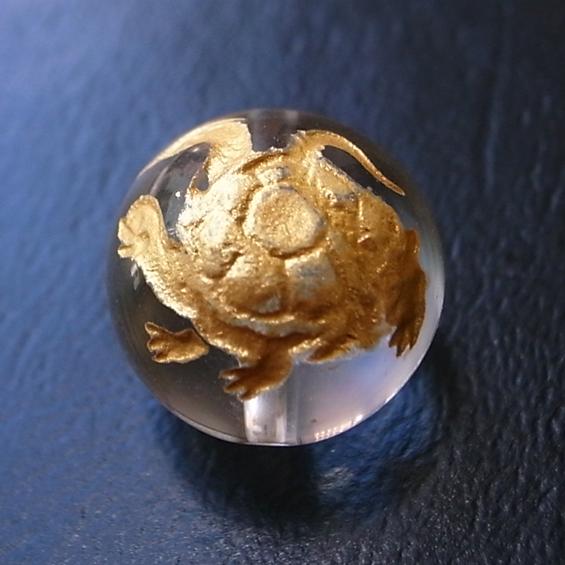 四神彫り  玄武(水晶・金色彫刻) 10mm メール便可