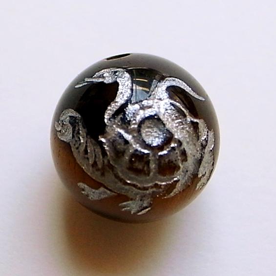 四神彫り  玄武(タイガーアイ・銀色彫刻) 12mm メール便可