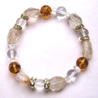 ブラジル水晶(ゼロフィールド浄化ブレス)金運(女性A) 内径15.5cm メール便不可