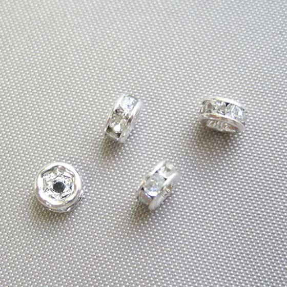 ロンデル(シルバー)白4mm4個セット メール便可