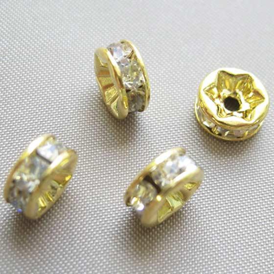 ロンデル(ゴールド)白7mm4個セット