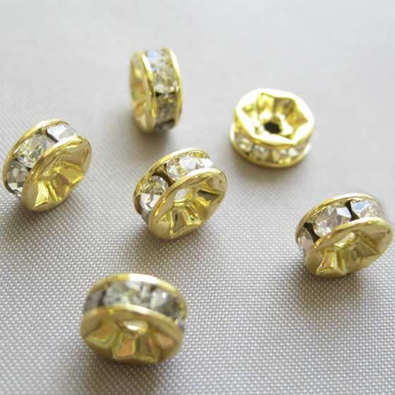 ロンデル(ゴールド)白7mm6個セット メール便可