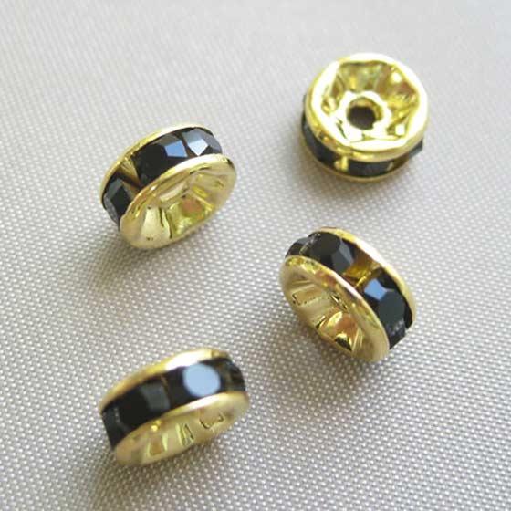 ロンデル(ゴールド)黒7mm4個セット