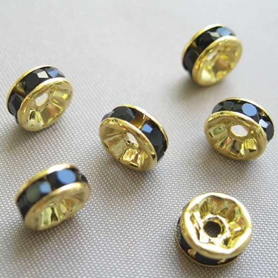 ロンデル(ゴールド)黒7mm6個セット メール便可