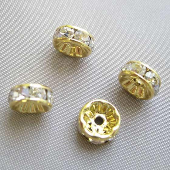 ロンデル(ゴールド)白8mm4個セット メール便可
