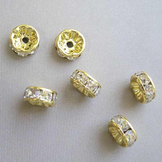 ロンデル(ゴールド)白8mm6個セット