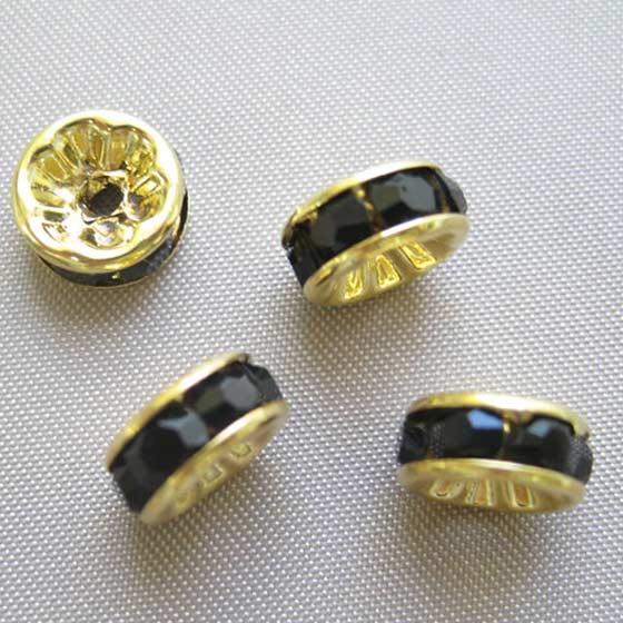 ロンデル(ゴールド)黒8mm4個セット メール便可