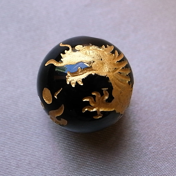 四神彫り  青竜(オニキス・金色彫刻) 10mm メール便可