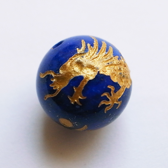 四神彫り 青竜(ラピス・金色彫刻) 10mm メール便可