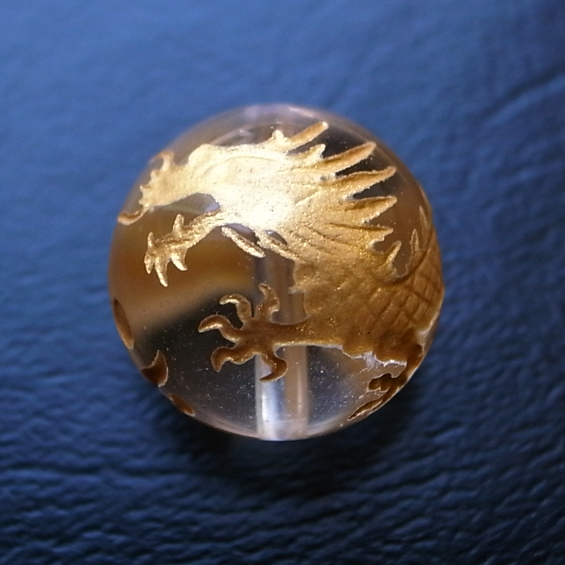 四神彫り  青竜(水晶・金色彫刻) 10mm メール便可
