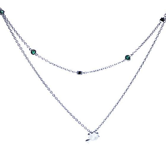 ハッピークローバー二連ネックレス/エメラルドネックレス