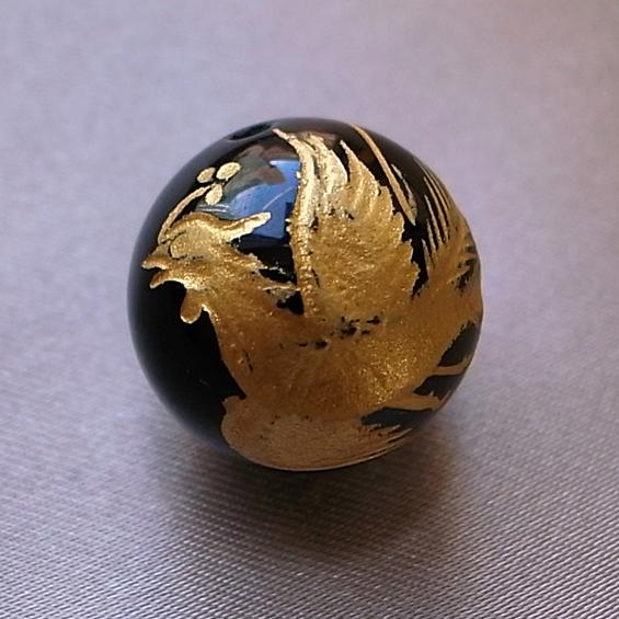 四神彫り  朱雀(オニキス・金色彫刻) 10mm メール便可