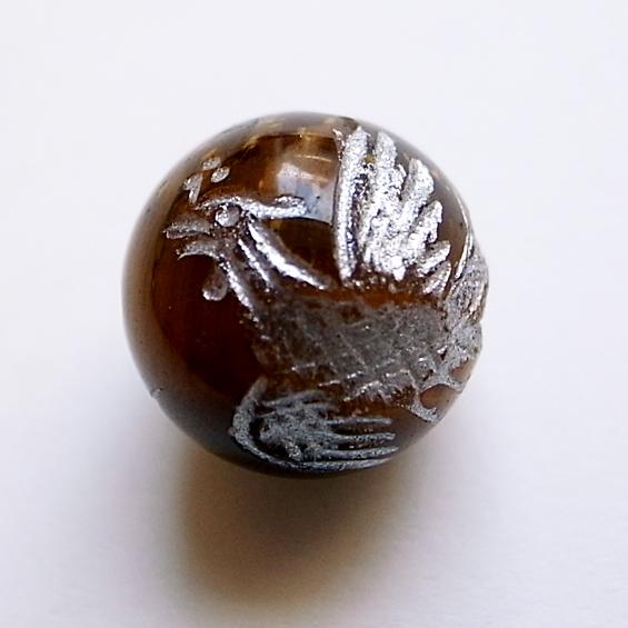 四神彫り  朱雀(タイガーアイ・銀色彫刻) 12mm メール便可