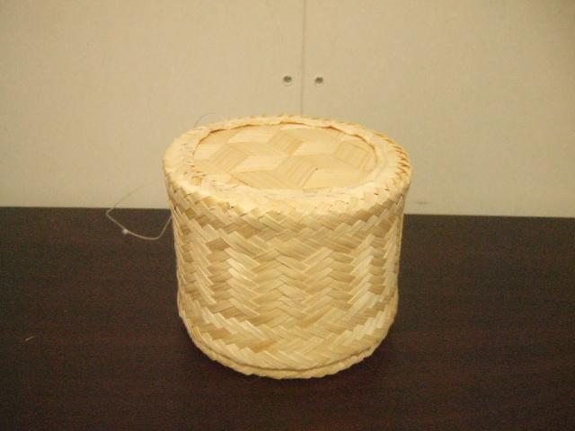 【タイ製】正方形のカオニャオいれるかご 13cmサイズ