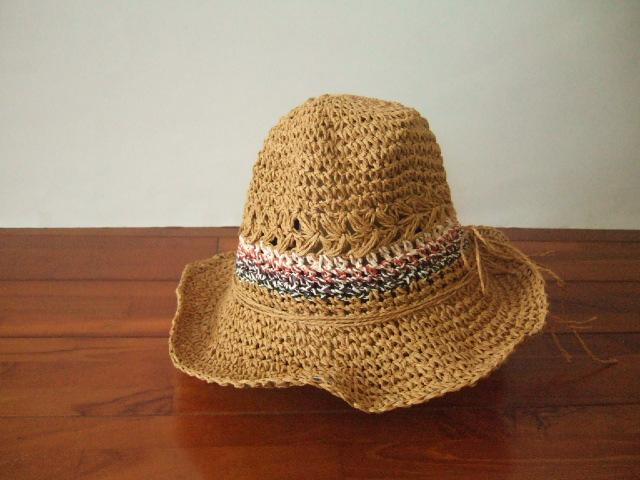 【タイ製】ラフィアハット 帽子 カラフルライン ピンク 赤 紫 黒 リボン付き