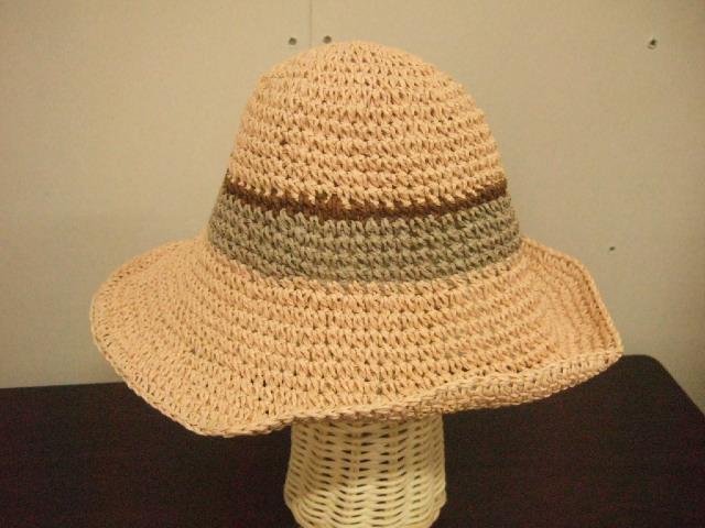ペーパー素材ハット 帽子 ピンク グレー&茶色ライン おしゃれ帽子【レターパック可】