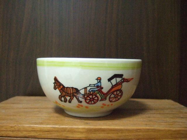【タイ製】花馬車柄のフリーボウル 小 11.5cm径 緑 ランパーン陶器