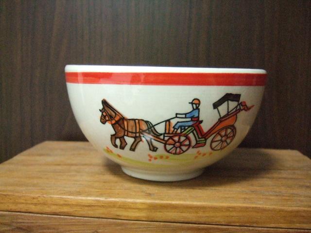 【タイ製】花馬車柄のフリーボウル13.5cm径 赤 ランパーンの陶器