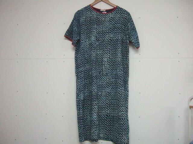【タイ製】藍染 半袖ワンピース 小さめの魚柄 袖口と襟は赤 涼し気な着心地 【レターパック可】