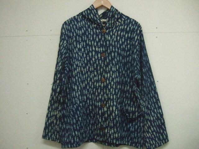 【タイ製】コットン100% コート フード付き 魚柄 ゆったり着れます