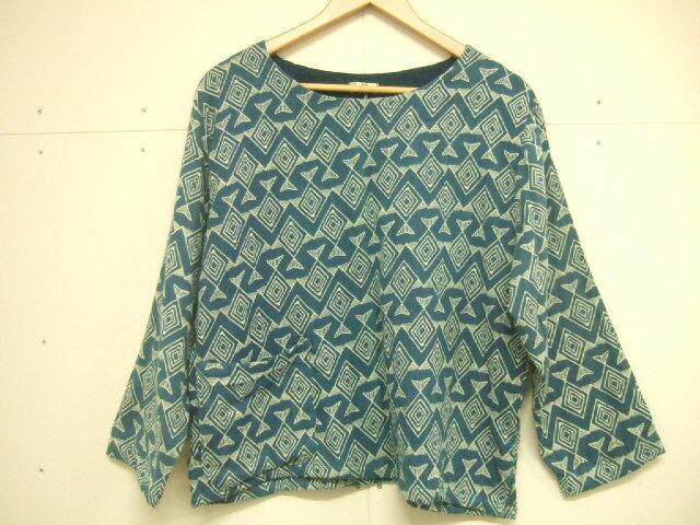 【タイ製】藍染 菱形の大き目魚柄 コットンブラウス 長袖 ポケット付き