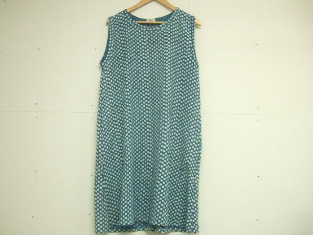 【タイ製】藍染 水玉模様のチュニックワンピース ポケット付き