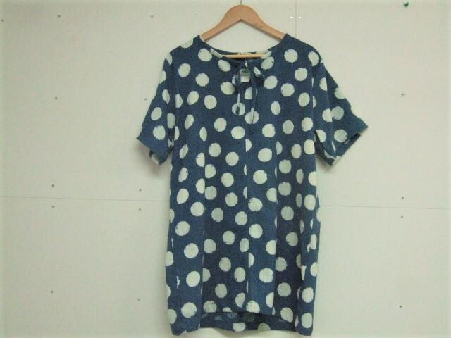 【タイ製】藍染 半袖ロングブラウス 大きい水玉模様 リボン付き