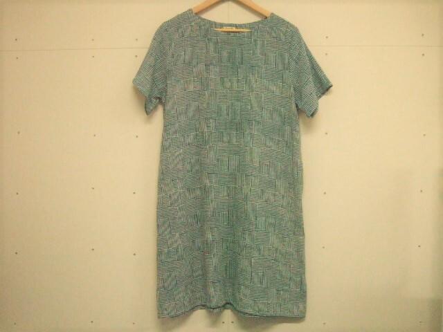タイ製 藍染 半袖チュニック ランダムシマシマ柄 ポケット付き