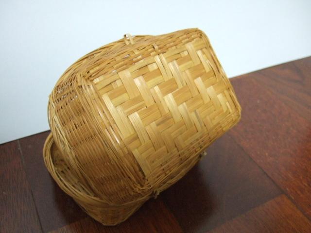 【タイ製】フタ付カオニャオ入れのかご 長方形タイプ 小物入れに最適