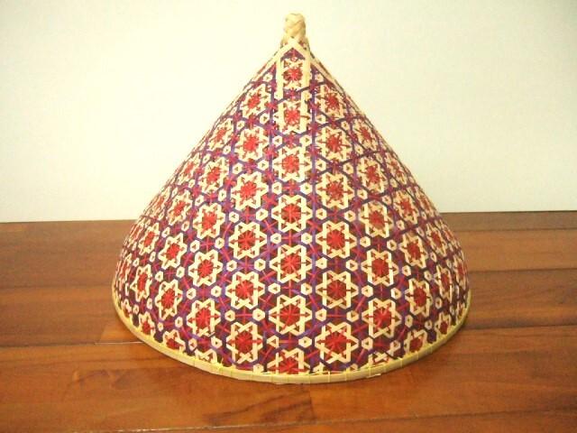 タイ製 パシー フードカバー(虫よけ)やランプシェードとして オレンジ&ナチュラル