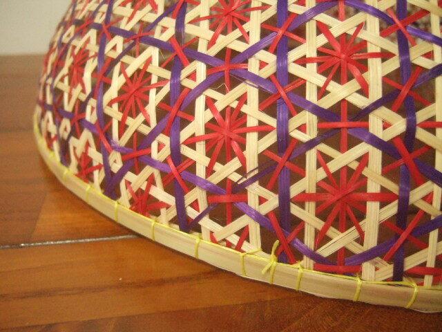 【タイ製】 ファシー フードカバー(虫よけ)やランプシェードとして 藍色(丸)&ピンク 大サイズ30.5cm