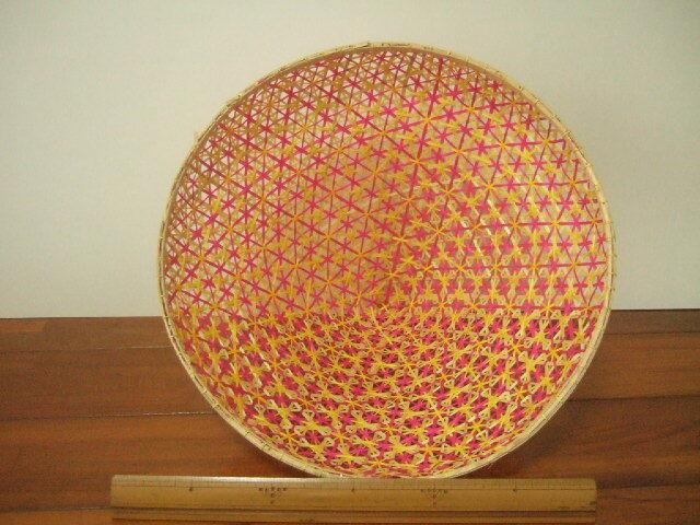 【タイ製】 ファシー フードカバー(虫よけ)やランプシェードとして 緑(丸)&ピンク 大サイズ30.5cm
