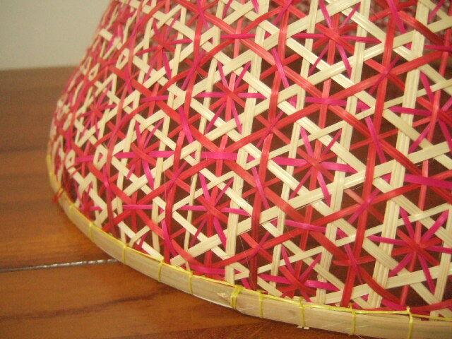 【タイ製】 ファシー フードカバー(虫よけ)やランプシェードとして エンジ(丸)&深緑 大サイズ30.5cm
