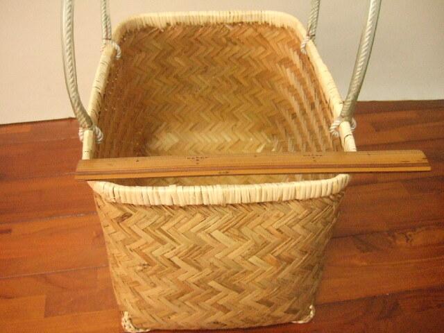 台湾製 竹で作られた 市場かご 大きめ直方体 特大 買い物に最適な竹のかごバッグ 青竹表面