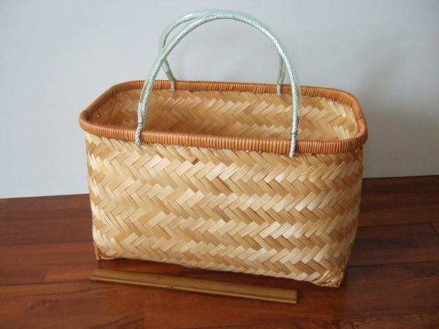 台湾製 竹で作られた市場かご 買い物に最適な竹のかごバッグ 大