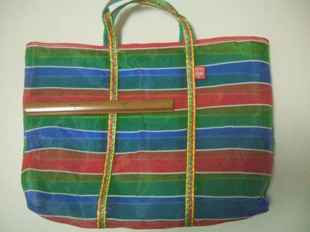 台湾製 メッシュのトートバッグ 3色(緑、赤、青)