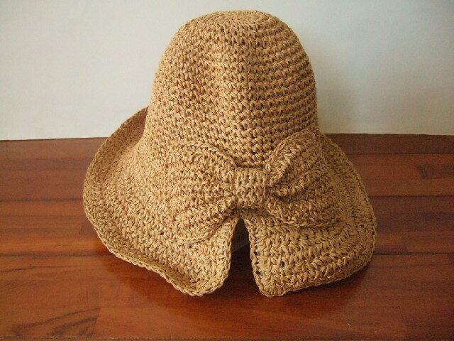 【タイ製】ラフィアハット 帽子 ナチュラル リボン おしゃれ帽子【レターパック可】