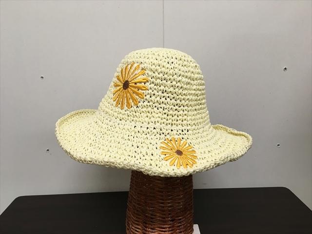 ペーパー素材ハット 帽子 お花(黄色)タンポポ オフホワイト