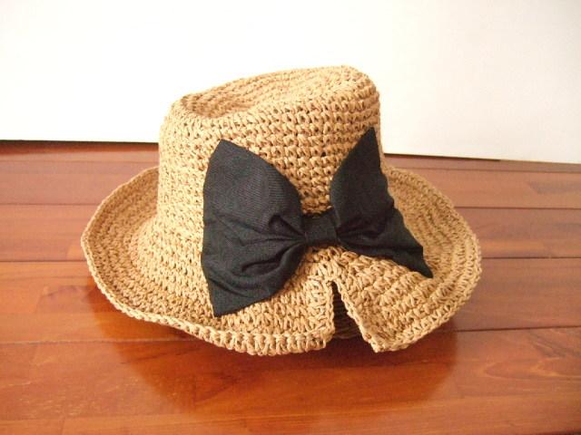 【タイ製】ラフィアハット 帽子 黒リボン おしゃれ帽子【レターパック可】