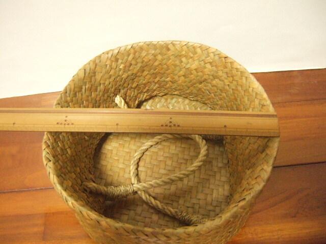 【タイ製】2ways カチューかごバッグ 丸形 シンプルタイプ 直径21cm ナチュラル
