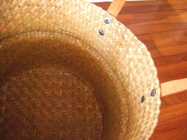 【タイ製】2ways カチューかごバッグ 丸形 シンプルタイプ 直径30cm 持ち手合皮 カシメ